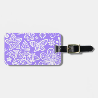 Groovy Purple Flowers Design Tag For Luggage