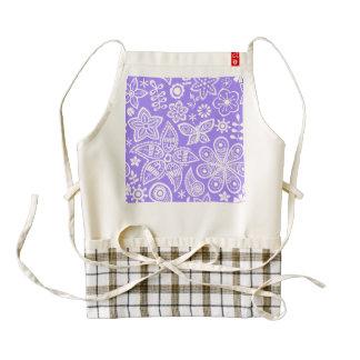Groovy Purple Flowers Design Zazzle HEART Apron