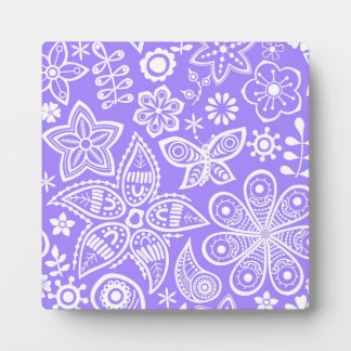 Groovy Purple Flowers Designs Plaque