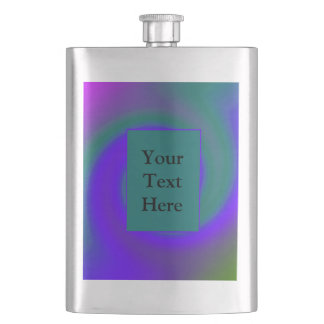 Groovy Purple Green Swirl Abstract Flask