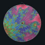 "Groovy Rainbow Colored Fractal Art Dart Board<br><div class=""desc"">A swirly fractal pattern in vivid rainbow colors that has a funky 1960&#39;s tie dye look in pink, green, gold, blue, red, purple, yellow and orange. The center of each swirl has an &quot;eye&quot;. This bestselling dartboard from my Zazzle store features a cool fractal art in rainbow colors with a...</div>"