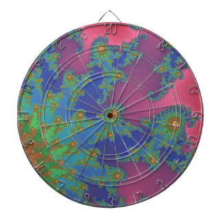 Groovy Rainbow Colored Fractal Art Dart Board
