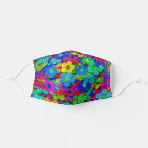 Groovy Rainbow Flowers Blue Adult Cloth Face Mask