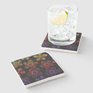 Groovy Rainbow Flowers Design Stone Coaster