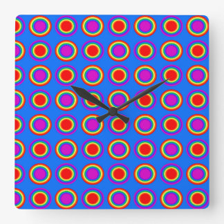 Groovy Rainbow of Concentric Circles Square Wallclock