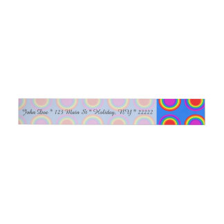 Groovy Rainbow of Concentric Circles Wrap Around Address Label