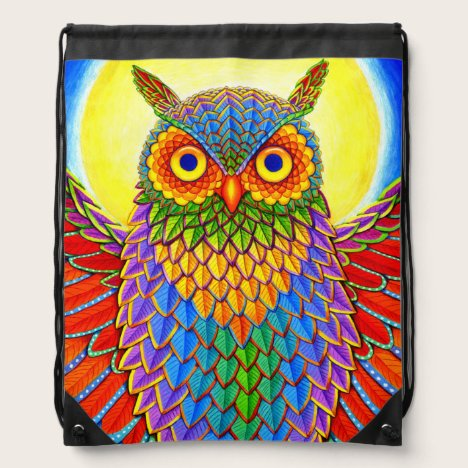 Groovy Rainbow Owl Drawstring Backpack
