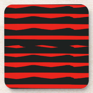 Groovy Red and Black Stripes Drink Coaster