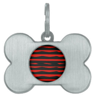 Groovy Red and Black Stripes Pet Name Tag