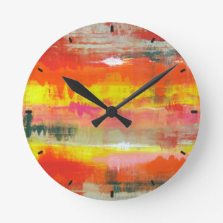 Groovy Red Orange Yellow Abstract No. 155 Round Clock