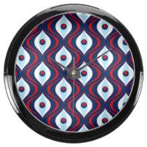 Groovy Red White & Blue Retro Pattern Fish Tank Clocks