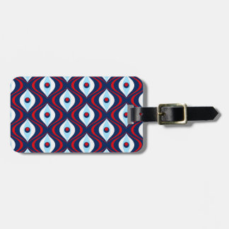 Groovy Red White & Blue Retro Pattern Bag Tag