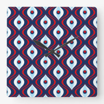 Groovy Red White & Blue Retro Pattern Square Wall Clock
