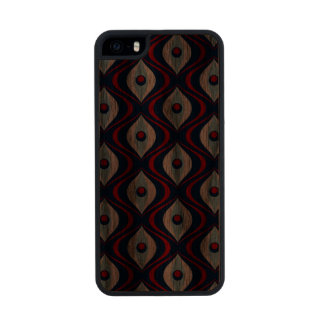 Groovy Red White & Blue Retro Pattern Wood Phone Case For iPhone SE/5/5s