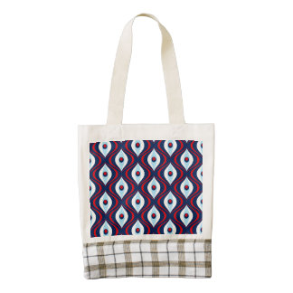 Groovy Red White & Blue Retro Pattern Zazzle HEART Tote Bag