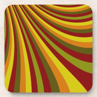 Groovy Red Yellow Orange Green Stripes Pattern Coaster