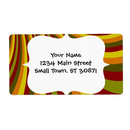 Groovy Red Yellow Orange Green Stripes Pattern Label