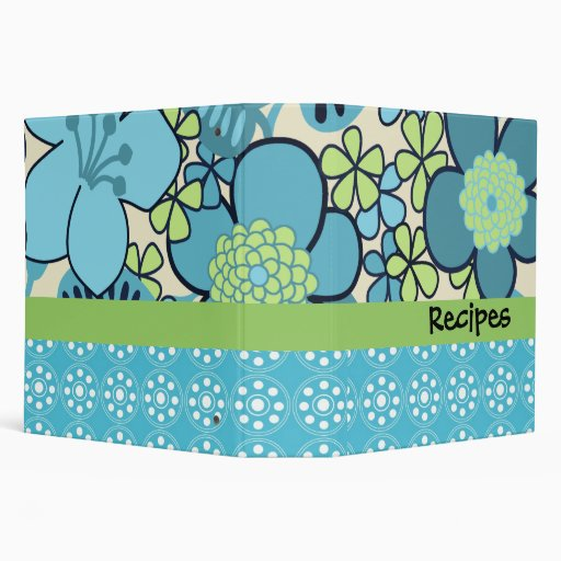 "Groovy Retro 2"" Custom Blue Floral Recipe Binder"