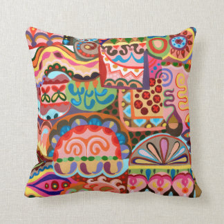 Groovy Retro Abstract Art Pillow