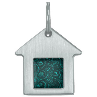 Groovy Retro Abstract Swirls Teal Pet Tag