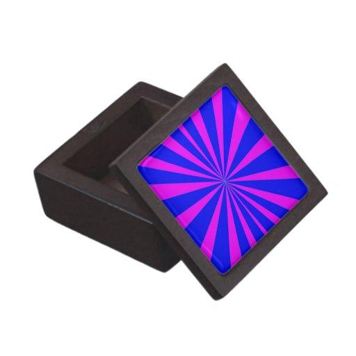 Groovy Retro Blue & Pink Background Premium Trinket Box