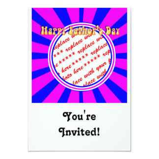 """Groovy Retro Blue & Pink Father's Day Frame 5"""" X 7"""" Invitation Card"""