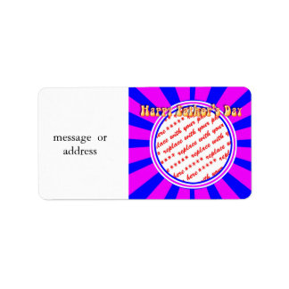 Groovy Retro Blue & Pink Father's Day Frame Address Label