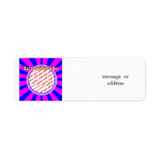 Groovy Retro Blue & Pink Father's Day Frame Return Address Label
