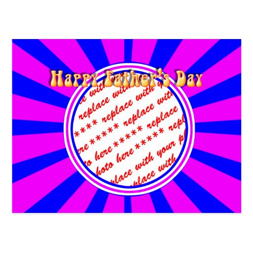 Groovy Retro Blue & Pink Father's Day Frame Postcard