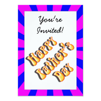 Groovy Retro Blue & Pink For Father's Day 5x7 Paper Invitation Card