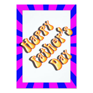 """Groovy Retro Blue & Pink For Father's Day 5"""" X 7"""" Invitation Card"""