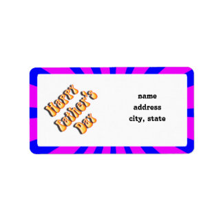 Groovy Retro Blue & Pink For Father's Day Address Label