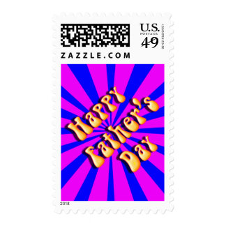 Groovy Retro Blue & Pink For Father's Day Postage Stamp