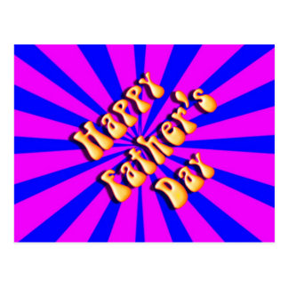 Groovy Retro Blue & Pink For Father's Day Postcard