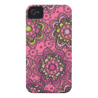 Groovy Retro Boho Flowers Hot PInk iPhone 4 Case