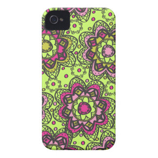 Groovy Retro Boho Flowers iPhone 4 Case-Mate Cases