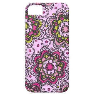 Groovy Retro Boho Flowers Purple iPhone 5 Cover