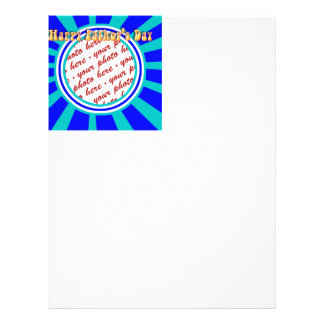 Groovy Retro Father s Day Blue Photo Frame Flyer Design
