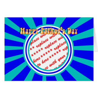 Groovy Retro Father's Day Blue Photo Frame Greeting Card