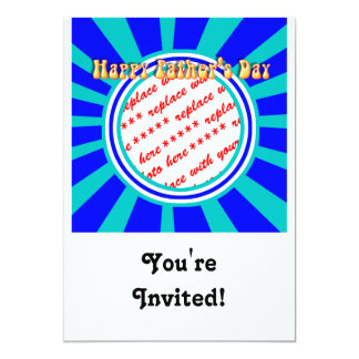 Groovy Retro Father's Day Blue Photo Frame 5x7 Paper Invitation Card