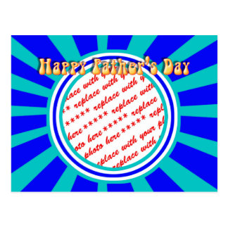 Groovy Retro Father's Day Blue Photo Frame Postcard