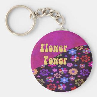 Groovy Retro Flower Power 60s 70s Keychain