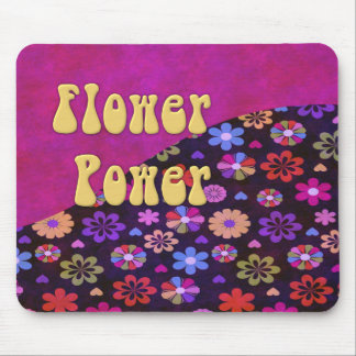 Groovy Retro Flower Power 60s 70s Mouse Pad