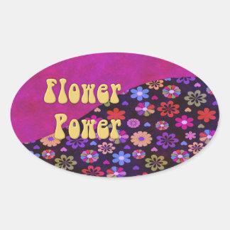 Groovy Retro Flower Power 60s 70s Oval Sticker