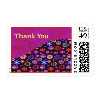 Groovy Retro Flower Power 60s 70s Thank You Postage