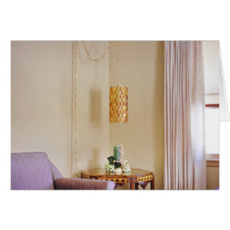 Groovy Retro Furnished Living Room Hanging Lamp Card