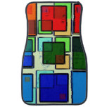 Groovy Retro Geometric Squares Floor Mat