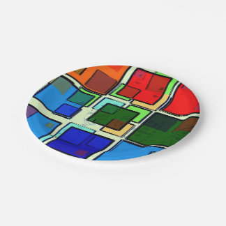 Groovy Retro Geometric Squares Paper Plate