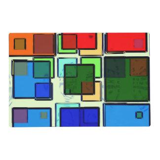 Groovy Retro Geometric Squares Placemat