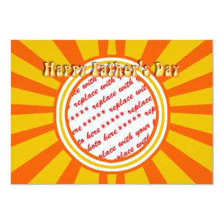 "Groovy Retro Gold & Orange Father's Day Frame 5"" X 7"" Invitation Card"